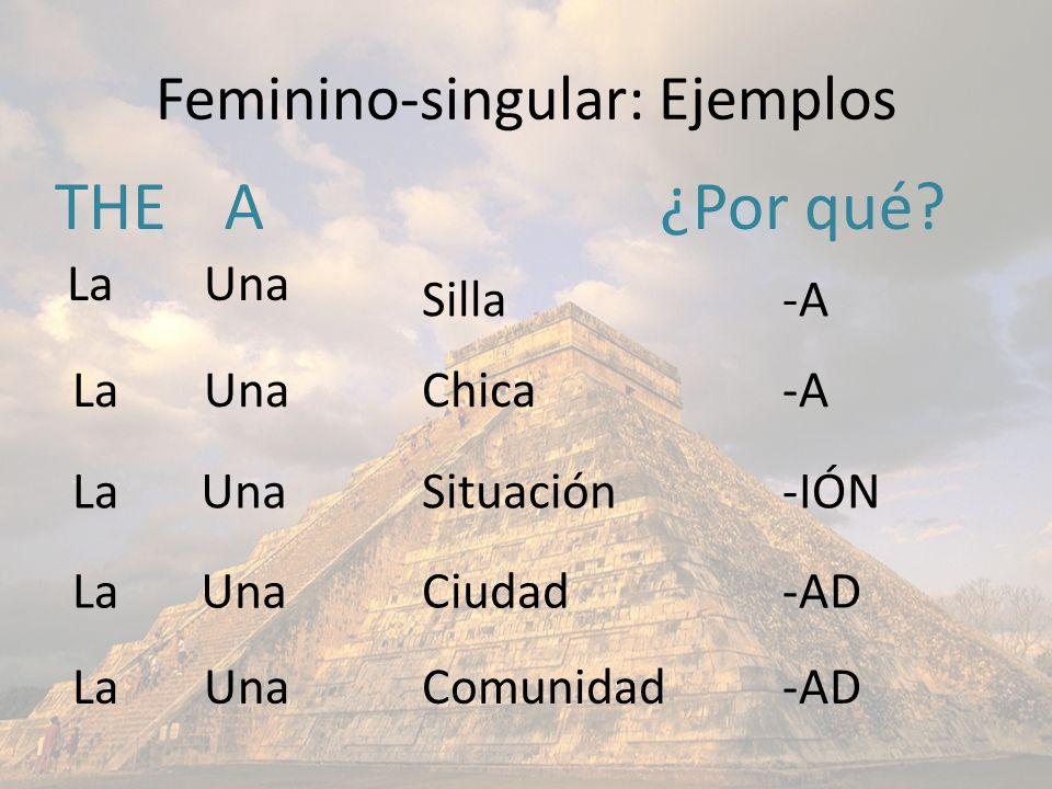 Feminino-singular: Ejemplos THEA Silla Chica Comunidad Ciudad Situación La Una ¿Por qué? -A -AD -A -IÓN -AD