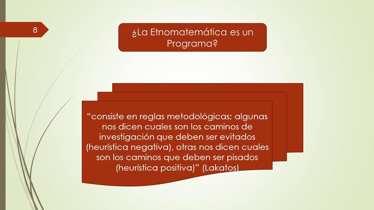 ¿La Etnomatemática es un Programa? consiste en reglas metodológicas; algunas nos dicen cuales son los caminos de investigación que deben ser evitados