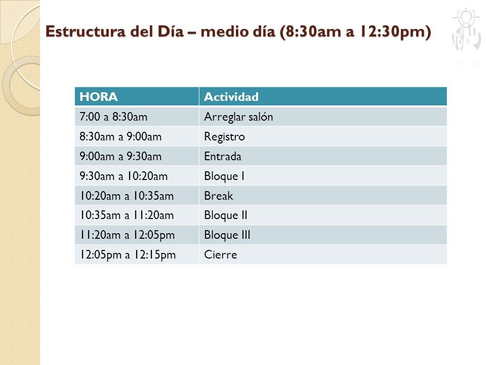 Estructura del Día – medio día (8:30am a 12:30pm) HORAActividad 7:00 a 8:30amArreglar salón 8:30am a 9:00amRegistro 9:00am a 9:30amEntrada 9:30am a 10:20amBloque I 10:20am a 10:35amBreak 10:35am a 11:20amBloque II 11:20am a 12:05pmBloque III 12:05pm a 12:15pmCierre