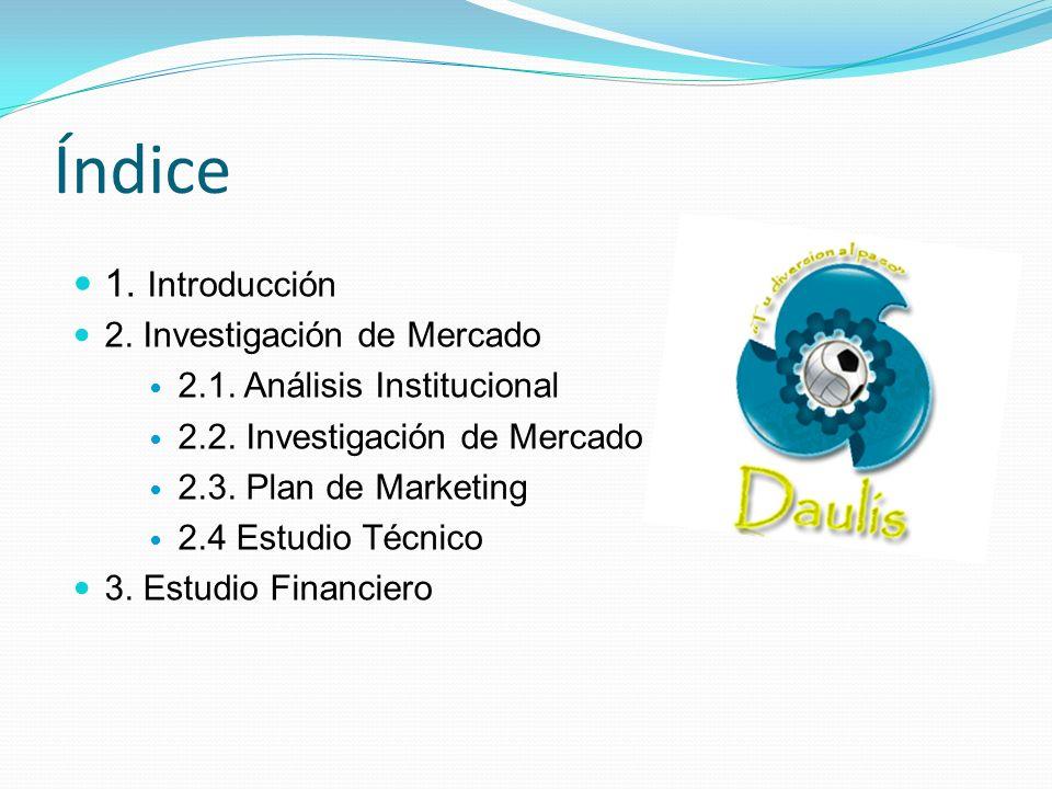 Índice 1. Introducción 2. Investigación de Mercado 2.1. Análisis Institucional 2.2. Investigación de Mercado 2.3. Plan de Marketing 2.4 Estudio Técnic