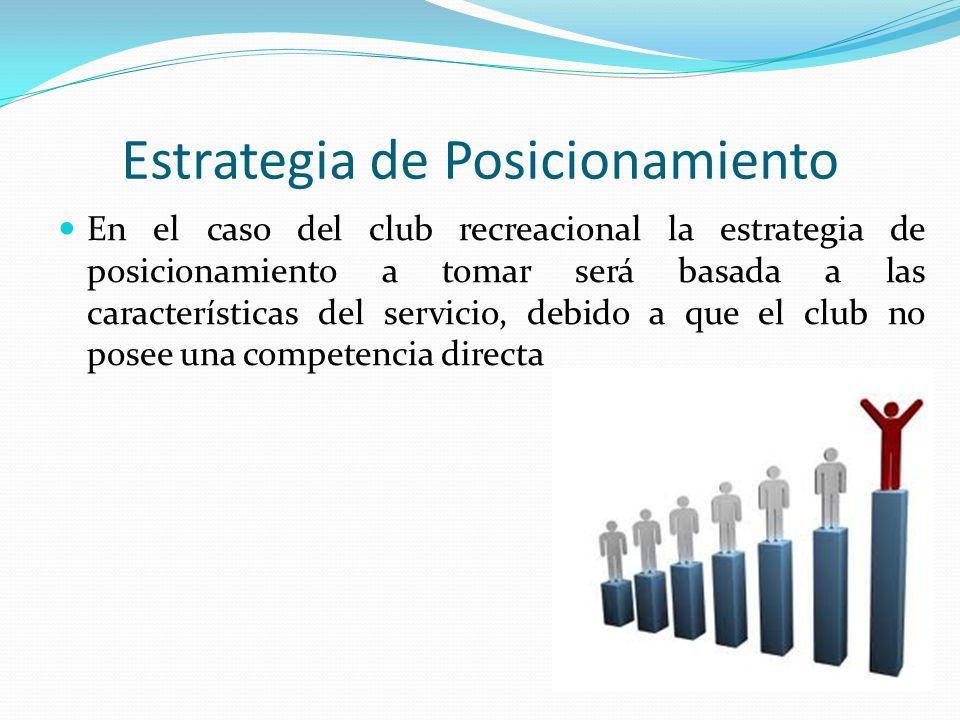 Estrategia de Posicionamiento En el caso del club recreacional la estrategia de posicionamiento a tomar será basada a las características del servicio