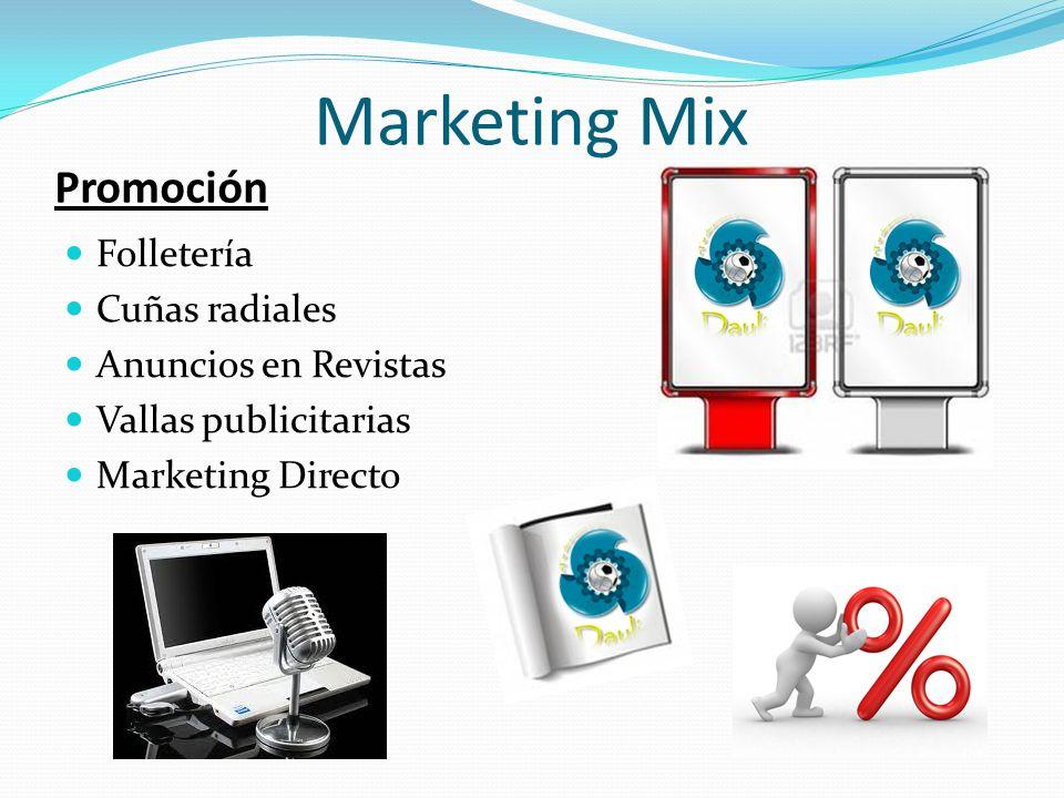 Promoción Folletería Cuñas radiales Anuncios en Revistas Vallas publicitarias Marketing Directo Marketing Mix
