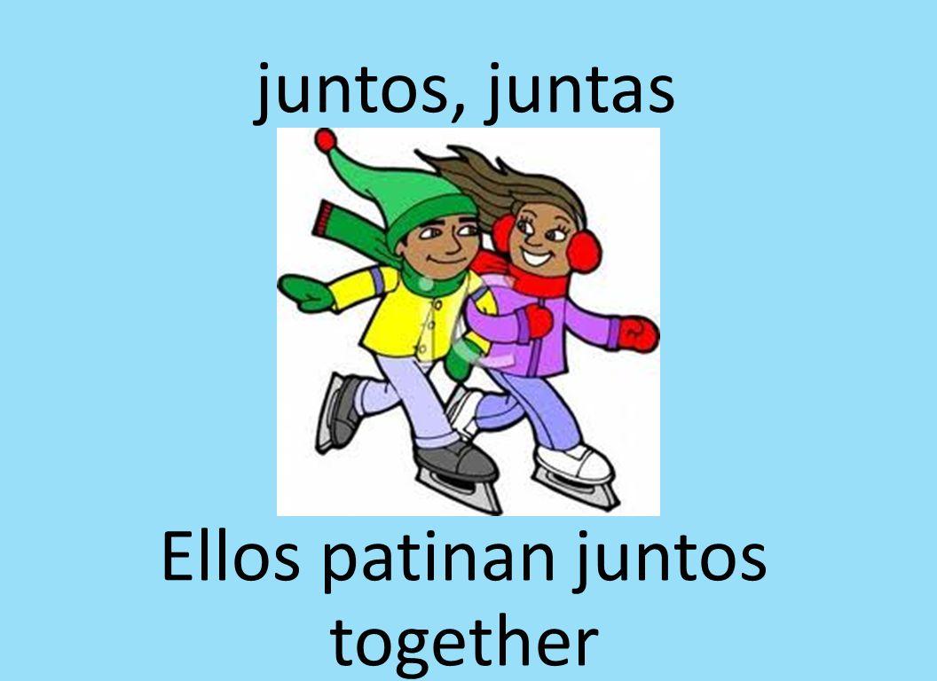 juntos, juntas Ellos patinan juntos together