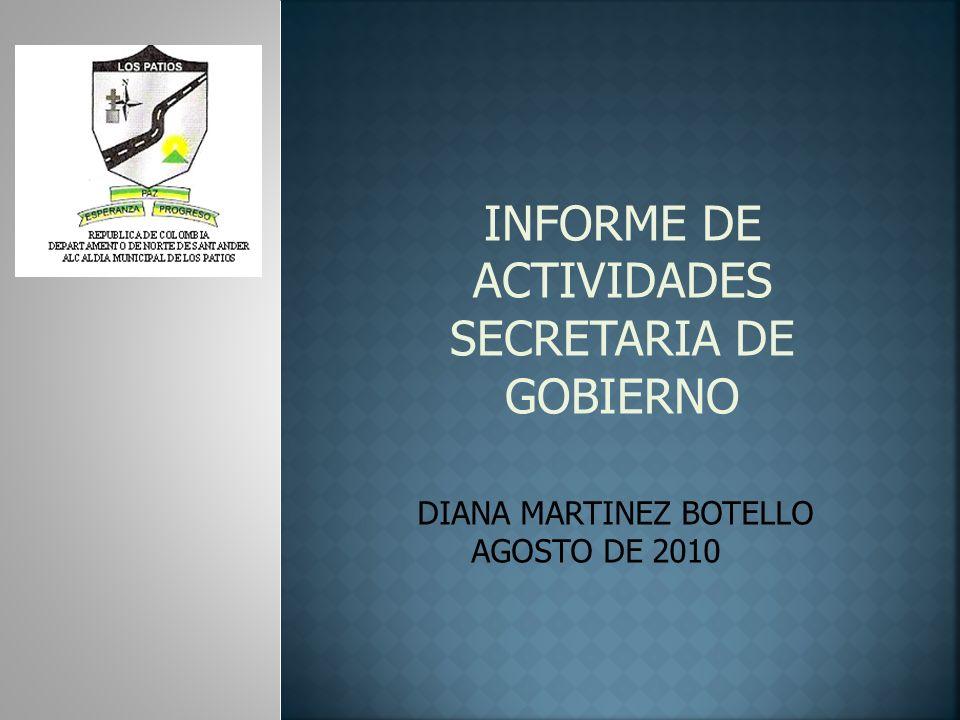 INFORME DE ACTIVIDADES REALIZADAS POR LA COMISARIA DE FAMILIA DURANTE EL SEGUNDO TRIMESTRE DE 2010 DEPARTAMENTO DE PSICOLOGIA DR.