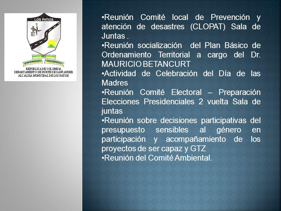 JUNIO DE 2010 Reunión Gobernación referentes a los auxilios a la Población Desplazada.