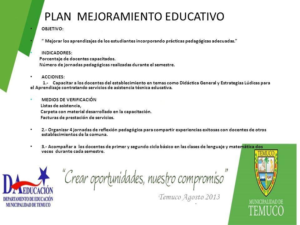PLAN MEJORAMIENTO EDUCATIVO Temuco Agosto 2013 OBJETIVO: Mejorar los aprendizajes de los estudiantes incorporando prácticas pedagógicas adecuadas. IND