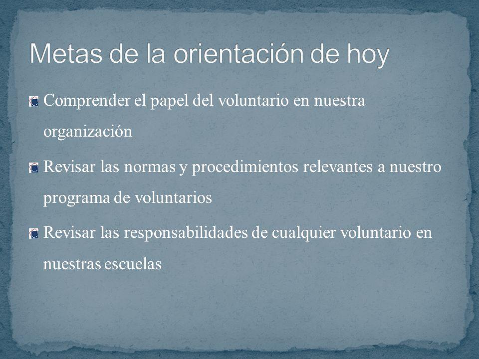 Comprender el papel del voluntario en nuestra organización Revisar las normas y procedimientos relevantes a nuestro programa de voluntarios Revisar la