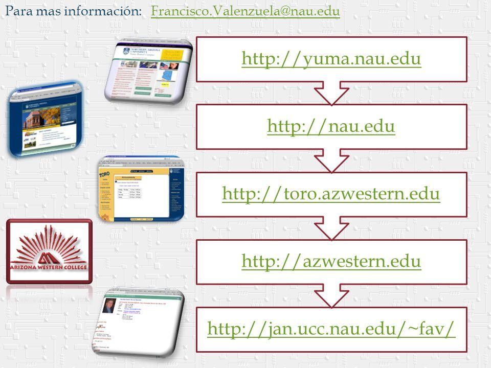 Para mas información: Francisco.Valenzuela@nau.eduFrancisco.Valenzuela@nau.edu http://jan.ucc.nau.edu/~fav/ http://azwestern.edu http://toro.azwestern.edu http://nau.edu http://yuma.nau.edu
