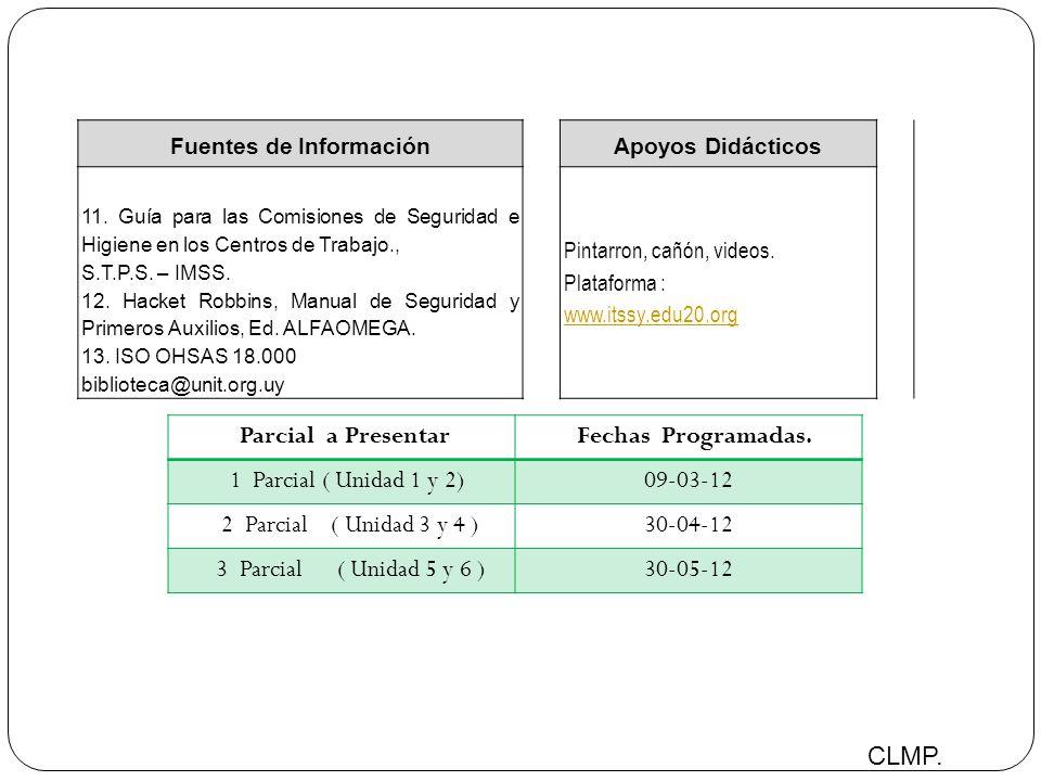 Parcial a Presentar Fechas Programadas. 1 Parcial ( Unidad 1 y 2)09-03-12 2 Parcial ( Unidad 3 y 4 )30-04-12 3 Parcial ( Unidad 5 y 6 )30-05-12 CLMP.