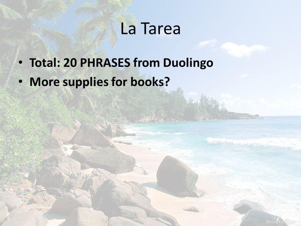 La Tarea Total: 20 PHRASES from Duolingo More supplies for books?