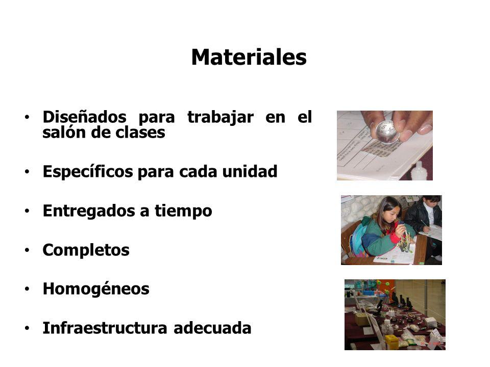 Materiales Diseñados para trabajar en el salón de clases Específicos para cada unidad Entregados a tiempo Completos Homogéneos Infraestructura adecuad