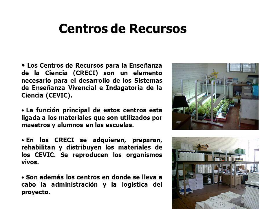 Centros de Recursos Los Centros de Recursos para la Enseñanza de la Ciencia (CRECI) son un elemento necesario para el desarrollo de los Sistemas de En
