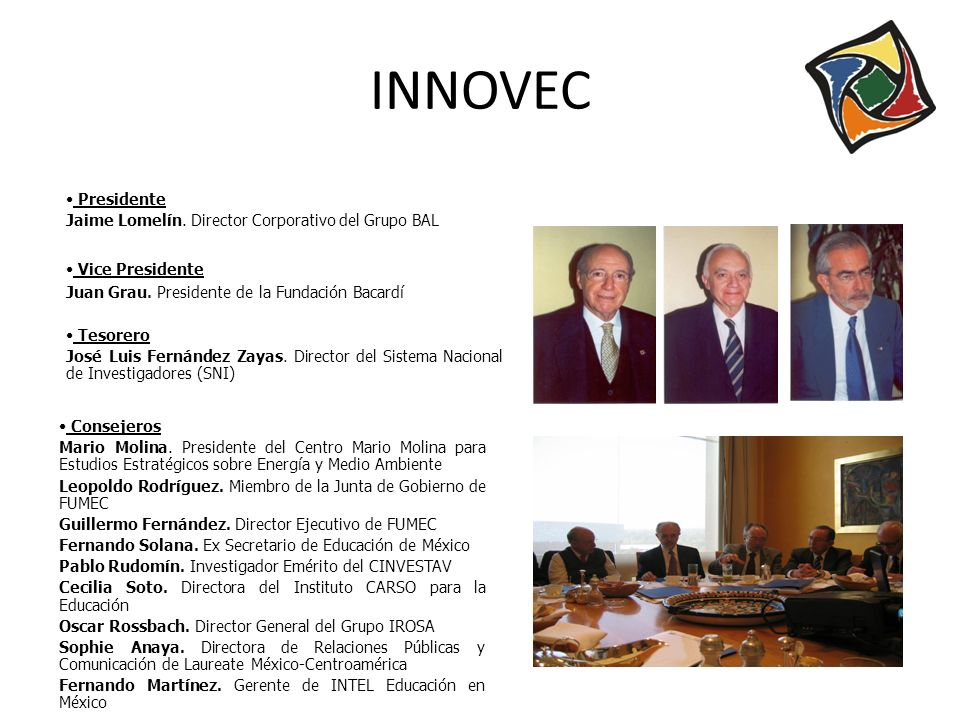 Presidente Jaime Lomelín. Director Corporativo del Grupo BAL Vice Presidente Juan Grau. Presidente de la Fundación Bacardí Tesorero José Luis Fernánde