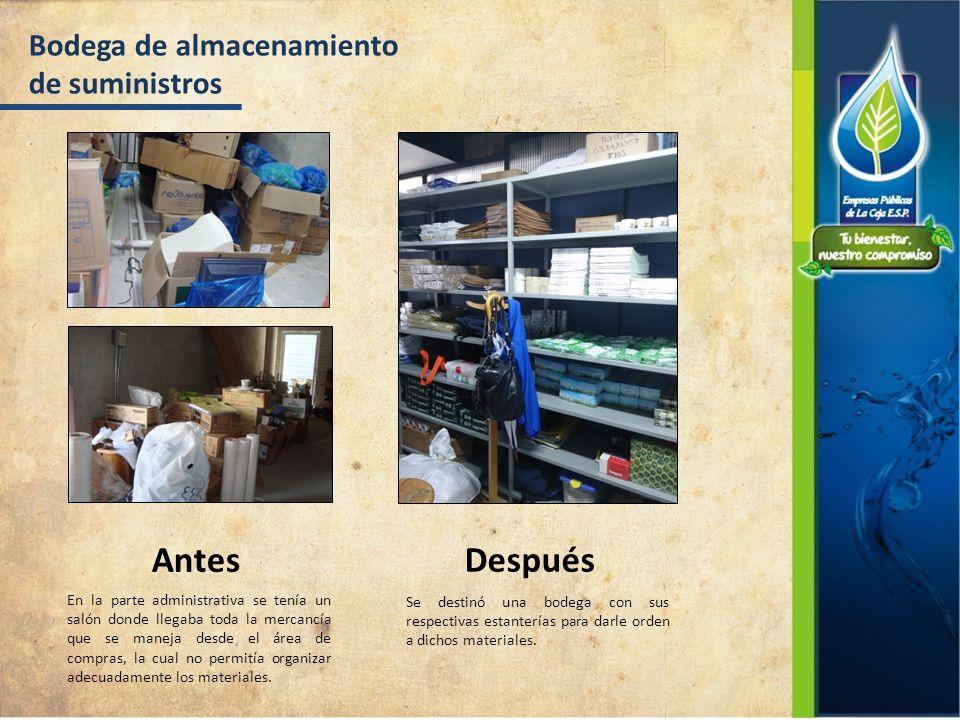 Bodega de almacenamiento de suministros Antes Después En la parte administrativa se tenía un salón donde llegaba toda la mercancía que se maneja desde