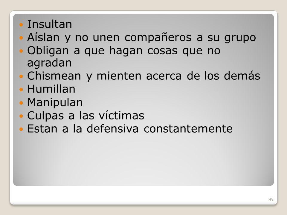 49 Insultan Aíslan y no unen compañeros a su grupo Obligan a que hagan cosas que no agradan Chismean y mienten acerca de los demás Humillan Manipulan