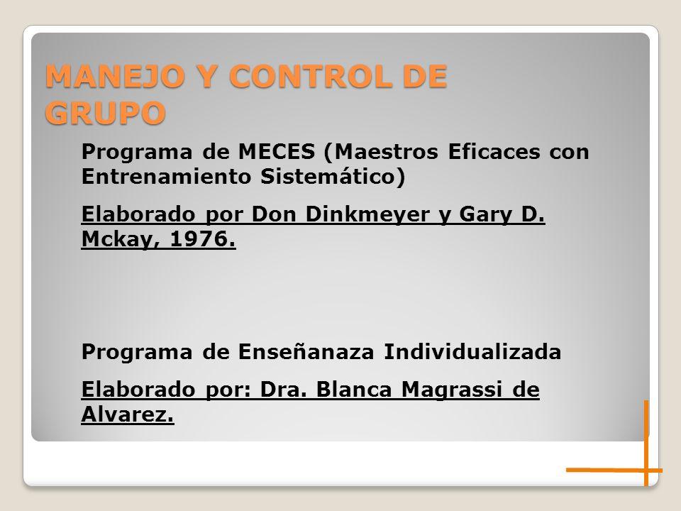 Programa de MECES (Maestros Eficaces con Entrenamiento Sistemático) Elaborado por Don Dinkmeyer y Gary D. Mckay, 1976. Programa de Enseñanaza Individu
