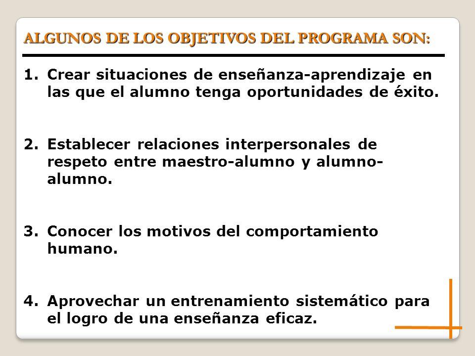 ALGUNOS DE LOS OBJETIVOS DEL PROGRAMA SON: 1.Crear situaciones de enseñanza-aprendizaje en las que el alumno tenga oportunidades de éxito.