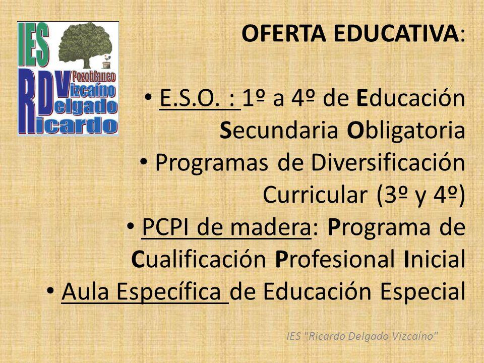 OFERTA EDUCATIVA: E.S.O. : 1º a 4º de Educación Secundaria Obligatoria Programas de Diversificación Curricular (3º y 4º) PCPI de madera: Programa de C