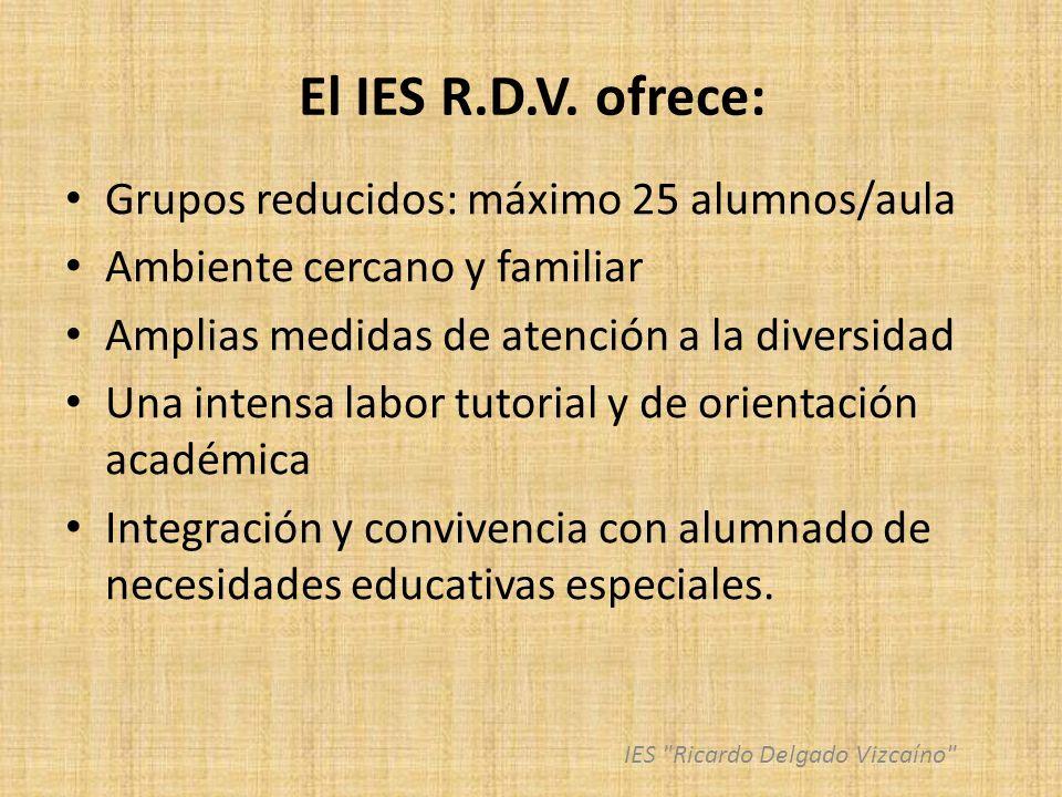 El IES R.D.V. ofrece: Grupos reducidos: máximo 25 alumnos/aula Ambiente cercano y familiar Amplias medidas de atención a la diversidad Una intensa lab