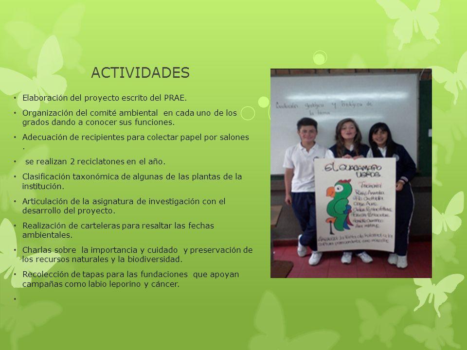 ACTIVIDADES Elaboración del proyecto escrito del PRAE. Organización del comité ambiental en cada uno de los grados dando a conocer sus funciones. Adec