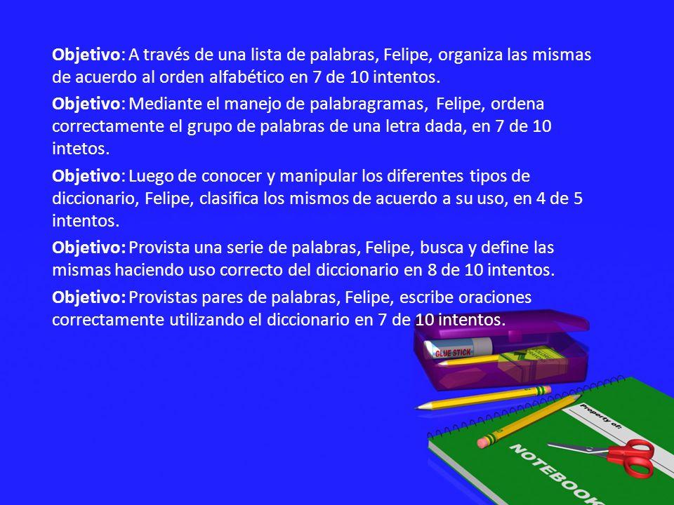 Objetivo: A través de una lista de palabras, Felipe, organiza las mismas de acuerdo al orden alfabético en 7 de 10 intentos. Objetivo: Mediante el man