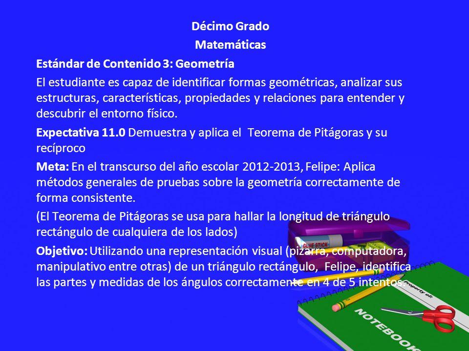 Décimo Grado Matemáticas Estándar de Contenido 3: Geometría El estudiante es capaz de identificar formas geométricas, analizar sus estructuras, caract