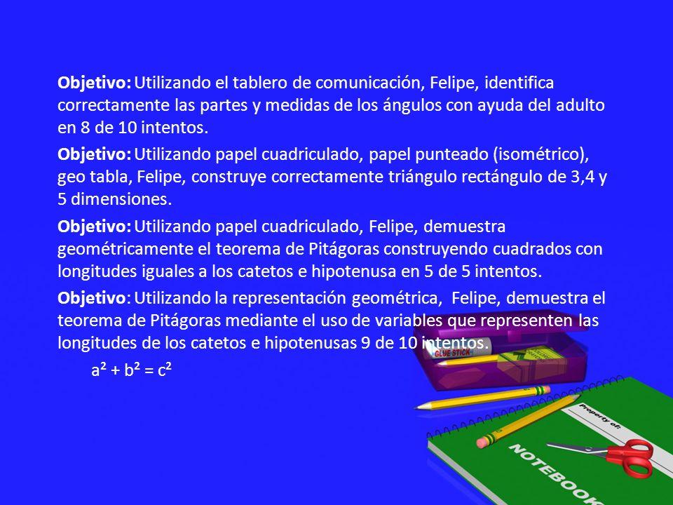 Objetivo: Utilizando el tablero de comunicación, Felipe, identifica correctamente las partes y medidas de los ángulos con ayuda del adulto en 8 de 10