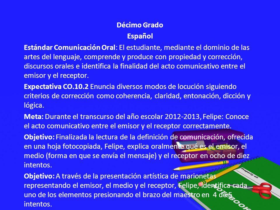 Décimo Grado Español Estándar Comunicación Oral: El estudiante, mediante el dominio de las artes del lenguaje, comprende y produce con propiedad y cor