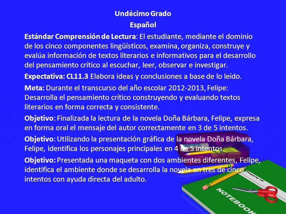 Undécimo Grado Español Estándar Comprensión de Lectura: El estudiante, mediante el dominio de los cinco componentes lingüísticos, examina, organiza, c