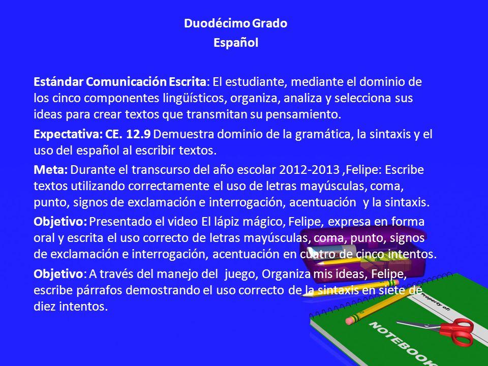 Duodécimo Grado Español Estándar Comunicación Escrita: El estudiante, mediante el dominio de los cinco componentes lingüísticos, organiza, analiza y s