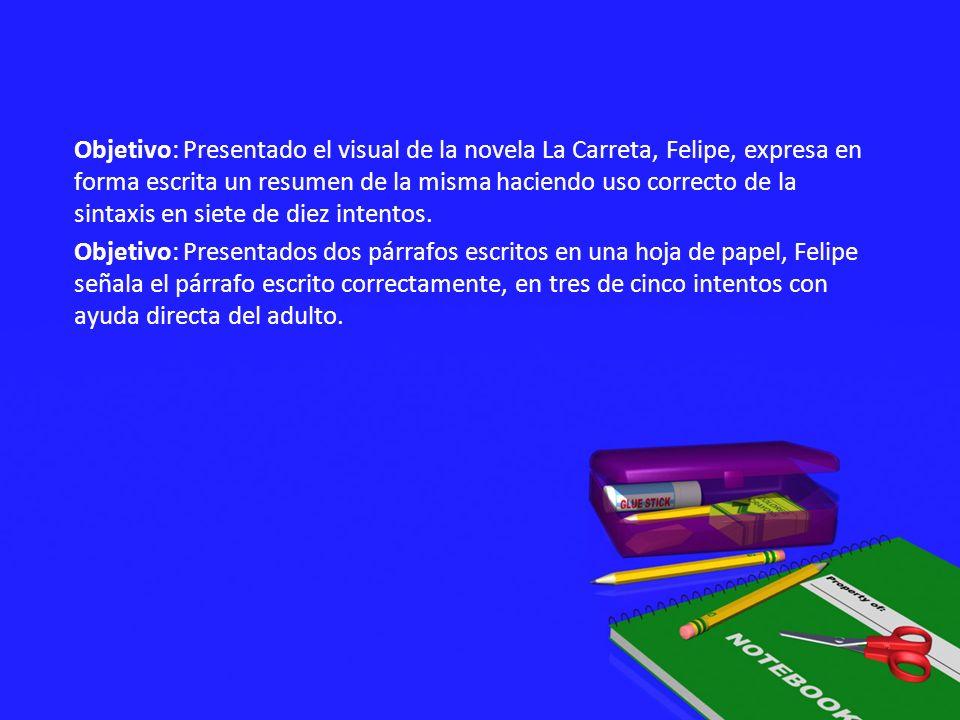 Objetivo: Presentado el visual de la novela La Carreta, Felipe, expresa en forma escrita un resumen de la misma haciendo uso correcto de la sintaxis e