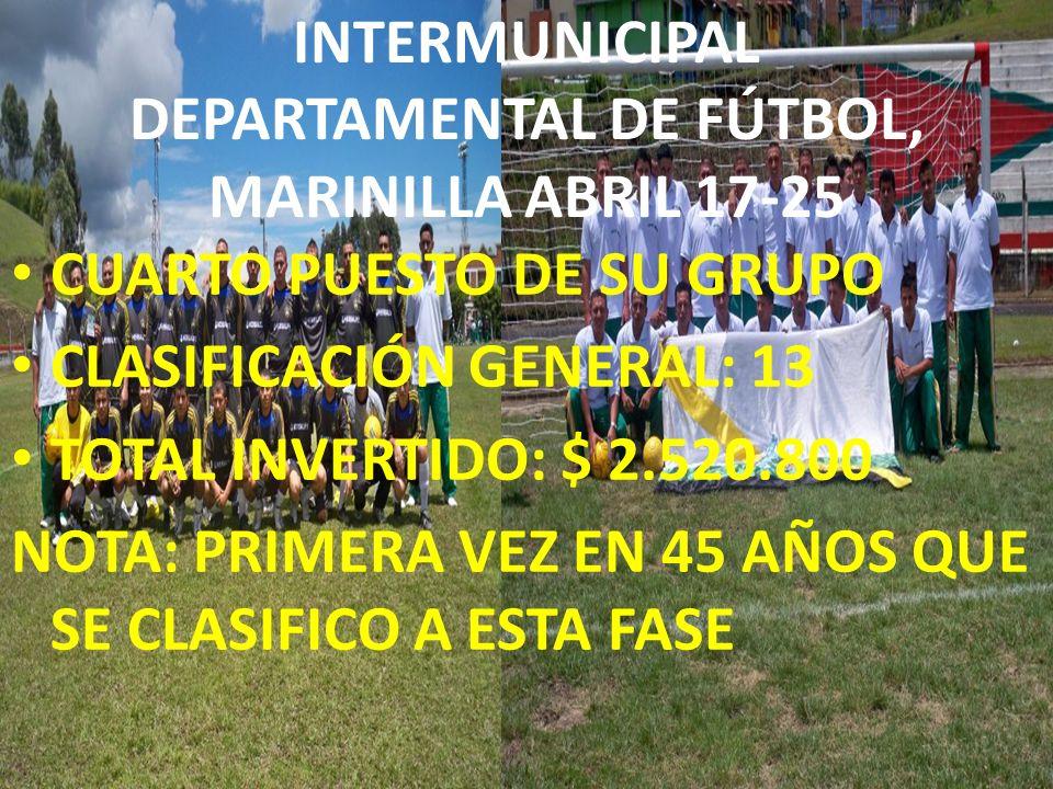 INTERMUNICIPAL DEPARTAMENTAL DE FÚTBOL, MARINILLA ABRIL 17-25 CUARTO PUESTO DE SU GRUPO CLASIFICACIÓN GENERAL: 13 TOTAL INVERTIDO: $ 2.520.800 NOTA: P