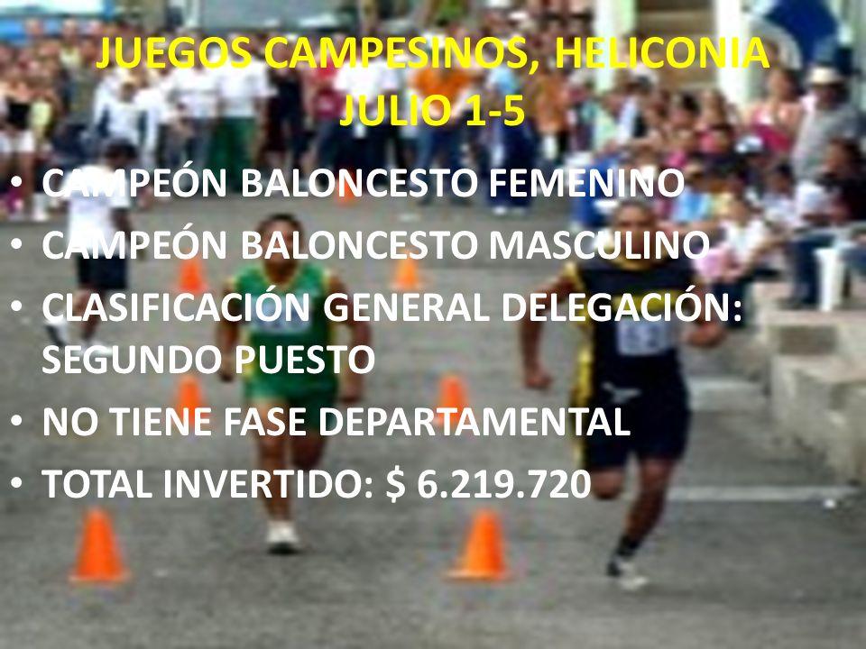 JUEGOS CAMPESINOS, HELICONIA JULIO 1-5 CAMPEÓN BALONCESTO FEMENINO CAMPEÓN BALONCESTO MASCULINO CLASIFICACIÓN GENERAL DELEGACIÓN: SEGUNDO PUESTO NO TI