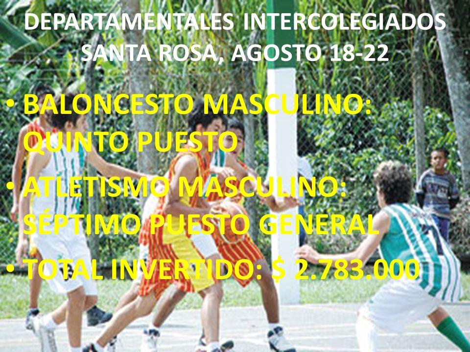DEPARTAMENTALES INTERCOLEGIADOS SANTA ROSA, AGOSTO 18-22 BALONCESTO MASCULINO: QUINTO PUESTO ATLETISMO MASCULINO: SÉPTIMO PUESTO GENERAL TOTAL INVERTI