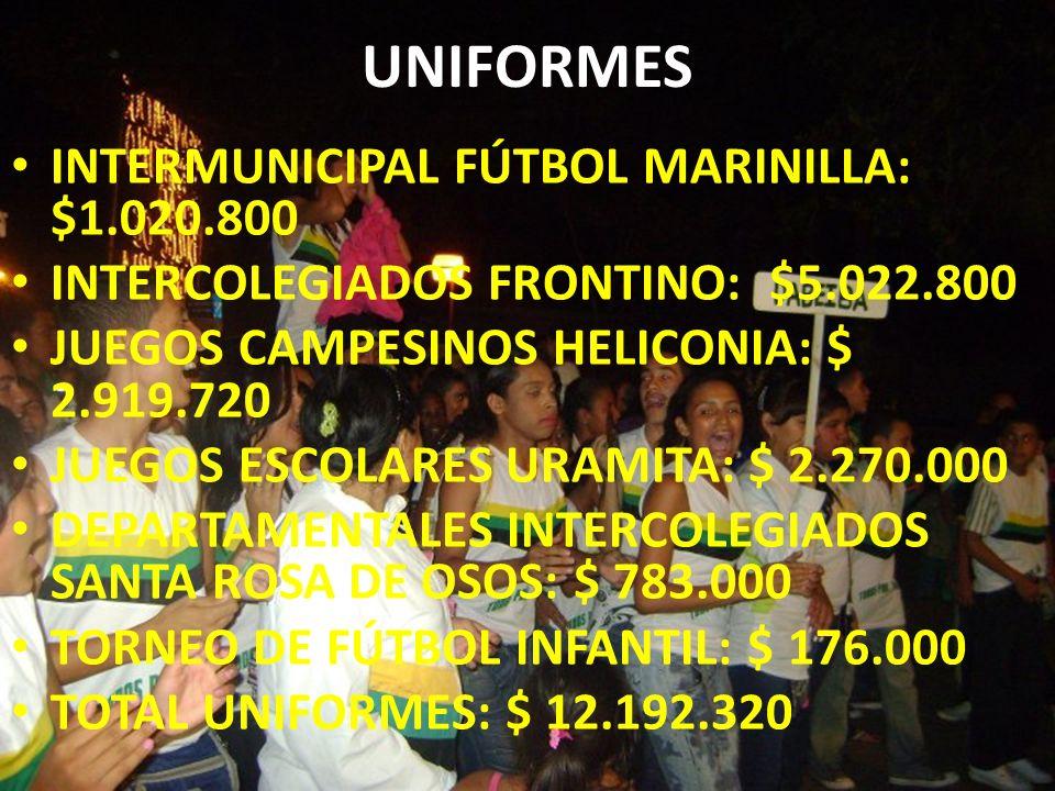 UNIFORMES INTERMUNICIPAL FÚTBOL MARINILLA: $1.020.800 INTERCOLEGIADOS FRONTINO: $5.022.800 JUEGOS CAMPESINOS HELICONIA: $ 2.919.720 JUEGOS ESCOLARES U