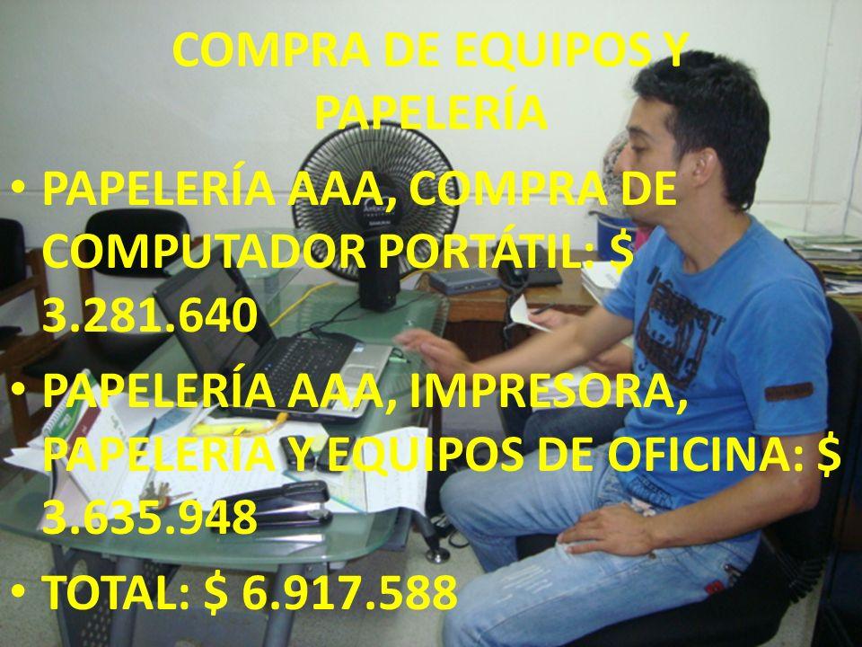 COMPRA DE EQUIPOS Y PAPELERÍA PAPELERÍA AAA, COMPRA DE COMPUTADOR PORTÁTIL: $ 3.281.640 PAPELERÍA AAA, IMPRESORA, PAPELERÍA Y EQUIPOS DE OFICINA: $ 3.