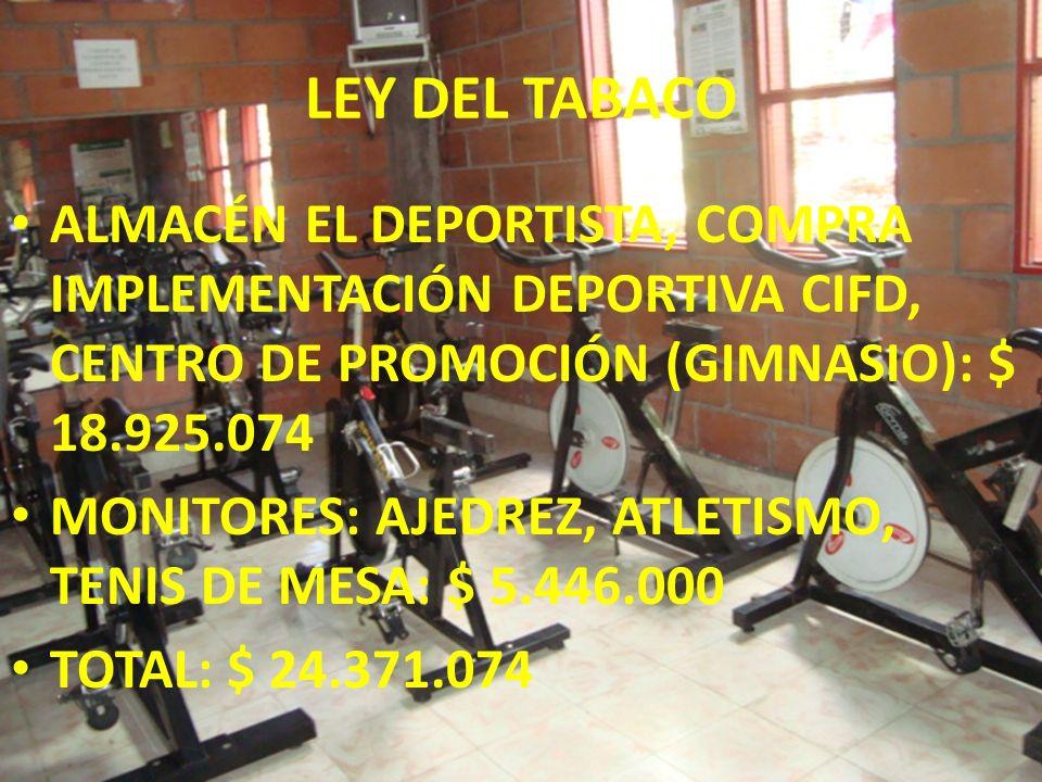 LEY DEL TABACO ALMACÉN EL DEPORTISTA, COMPRA IMPLEMENTACIÓN DEPORTIVA CIFD, CENTRO DE PROMOCIÓN (GIMNASIO): $ 18.925.074 MONITORES: AJEDREZ, ATLETISMO