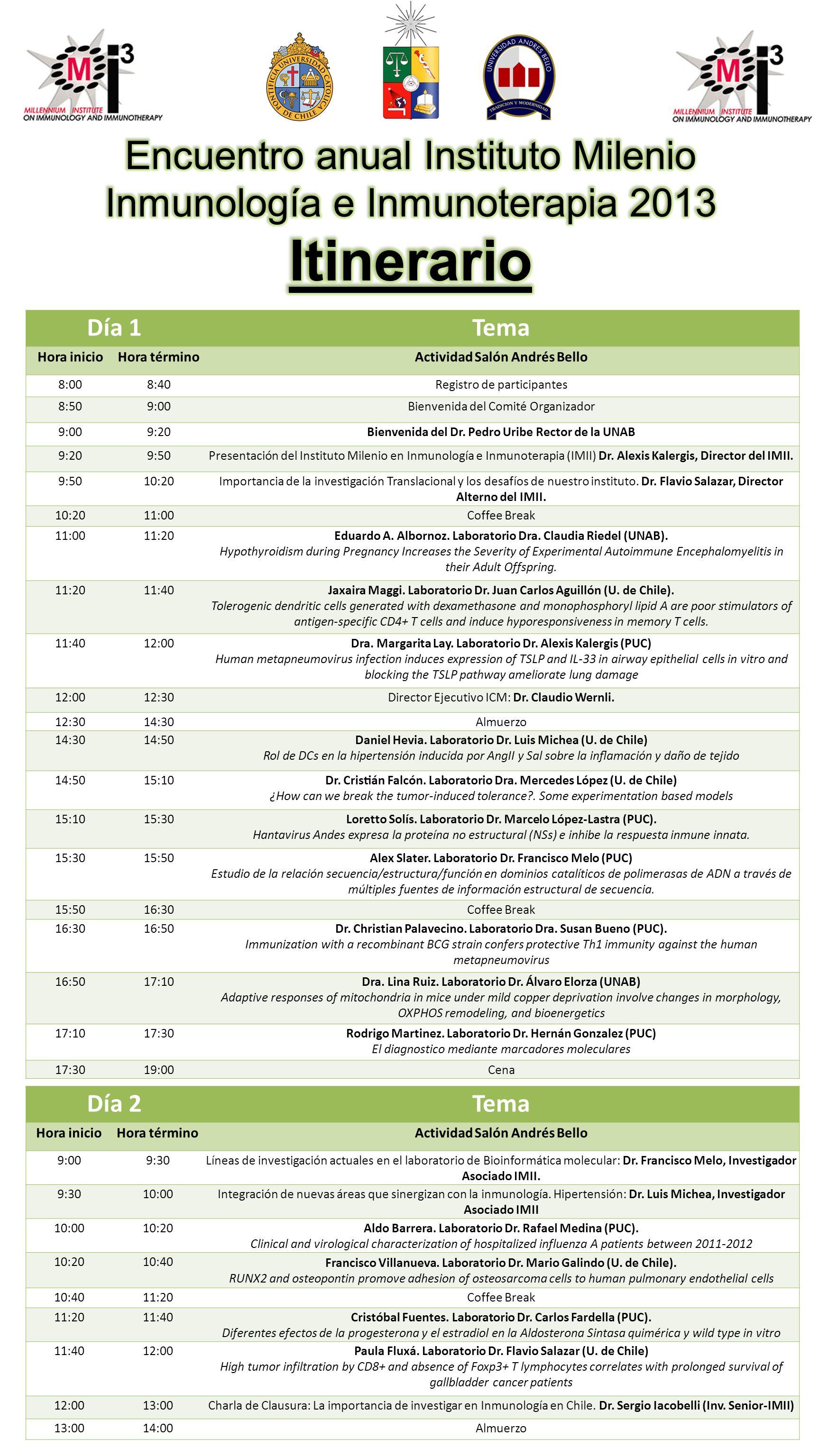 Día 1Tema Hora inicioHora términoActividad Salón Andrés Bello 8:008:40Registro de participantes 8:509:00Bienvenida del Comité Organizador 9:009:20Bienvenida del Dr.