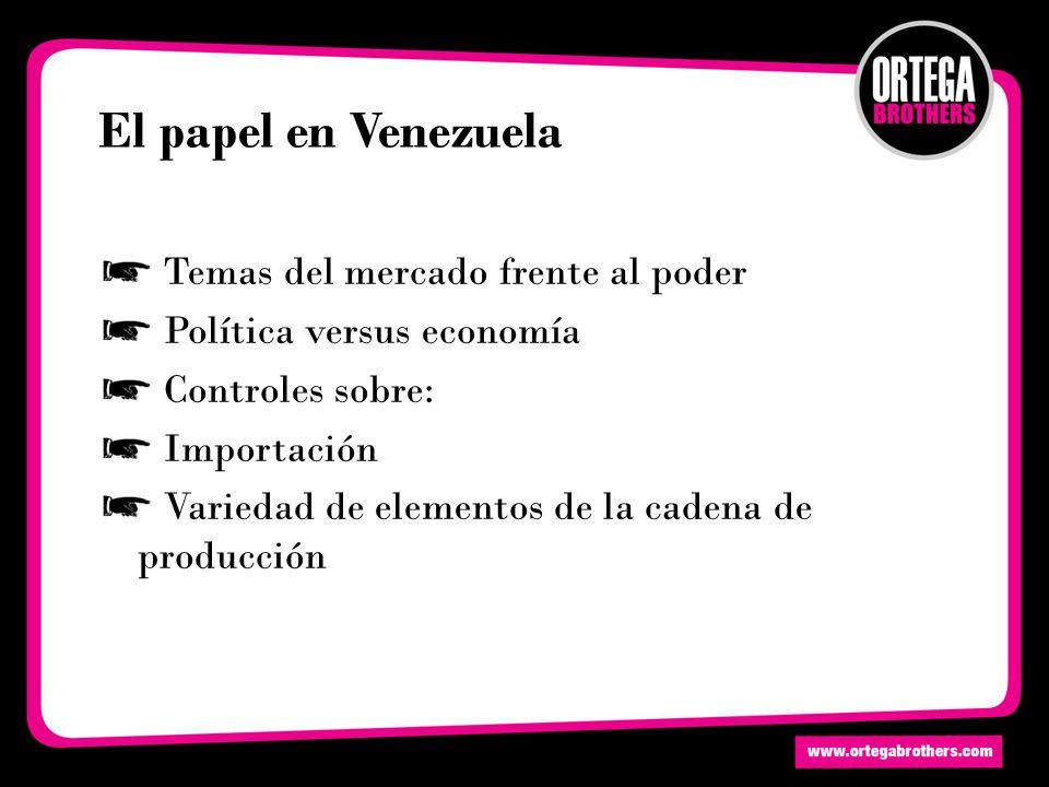 El papel en Venezuela Temas del mercado frente al poder Política versus economía Controles sobre: Importación Variedad de elementos de la cadena de producción