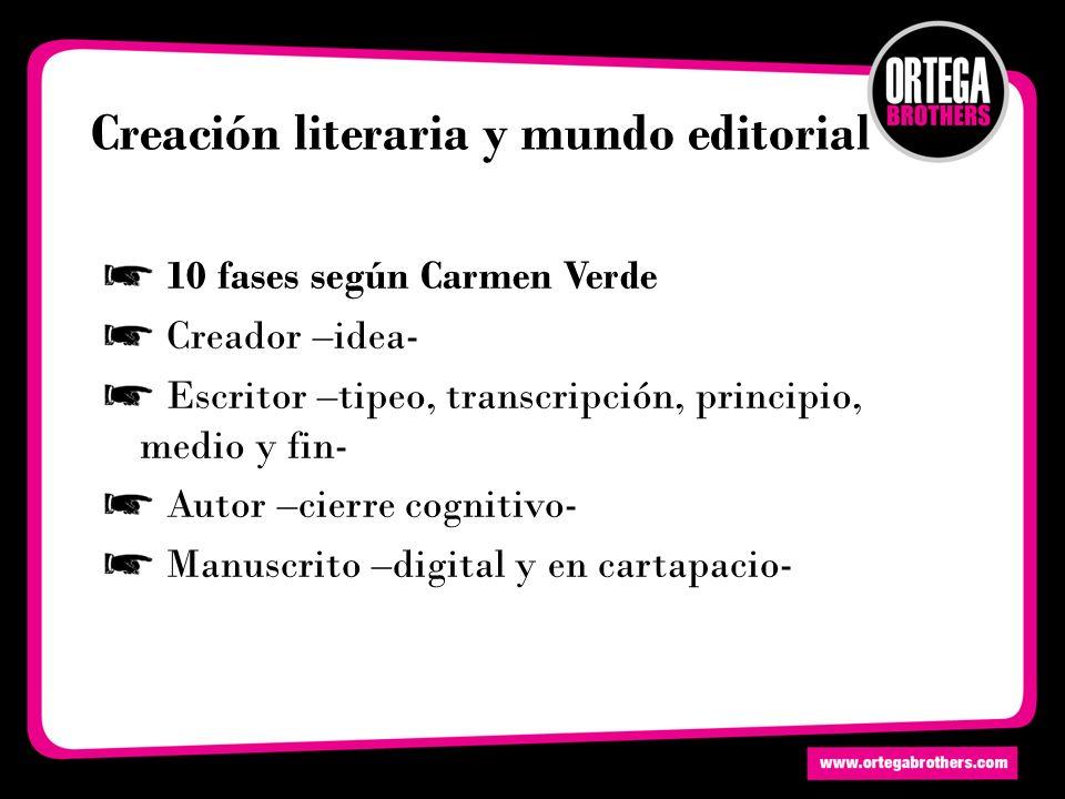 Creación literaria y mundo editorial 10 fases según Carmen Verde Creador –idea- Escritor –tipeo, transcripción, principio, medio y fin- Autor –cierre cognitivo- Manuscrito –digital y en cartapacio-