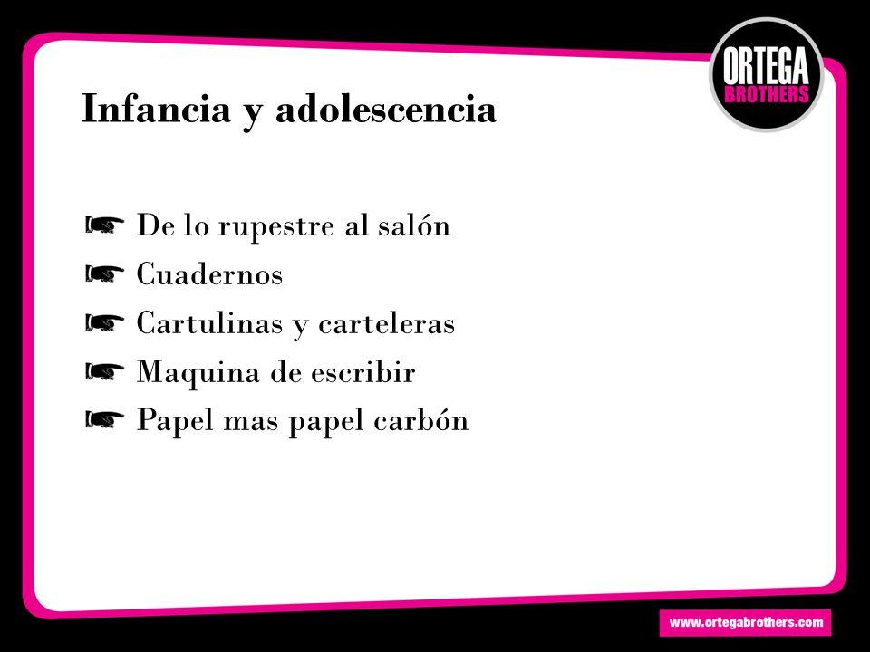 Infancia y adolescencia De lo rupestre al salón Cuadernos Cartulinas y carteleras Maquina de escribir Papel mas papel carbón