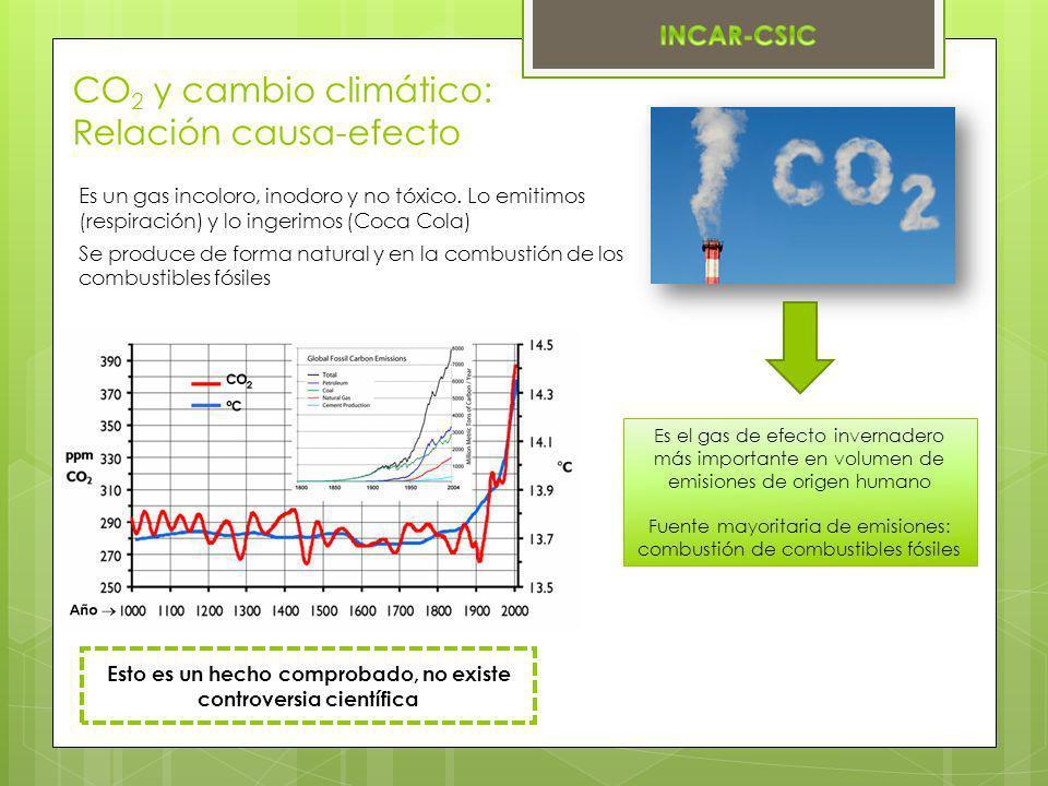 CO 2 y cambio climático: Relación causa-efecto Es el gas de efecto invernadero más importante en volumen de emisiones de origen humano Fuente mayorita