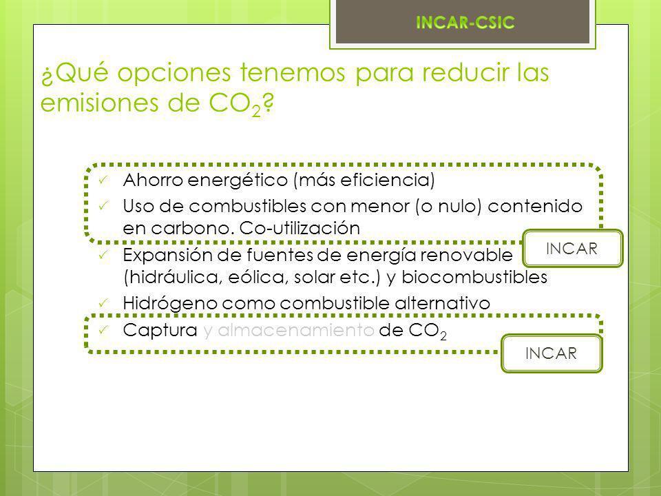 ¿Qué opciones tenemos para reducir las emisiones de CO 2 ? Ahorro energético (más eficiencia) Uso de combustibles con menor (o nulo) contenido en carb