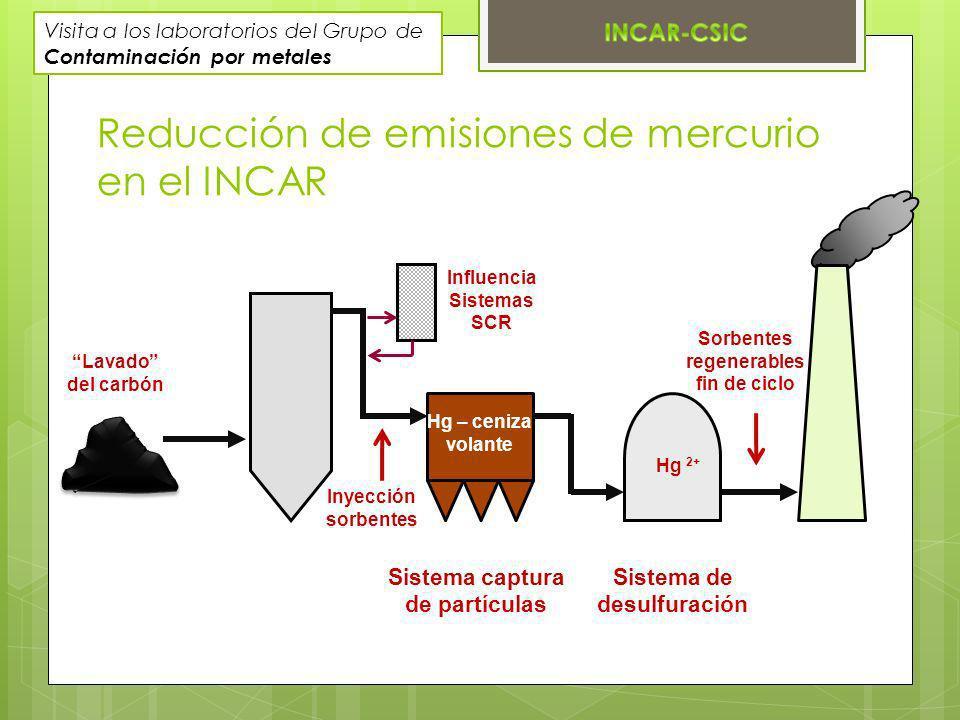 Reducción de emisiones de mercurio en el INCAR Sistema captura de partículas Sistema de desulfuración Lavado del carbón Inyección sorbentes Influencia