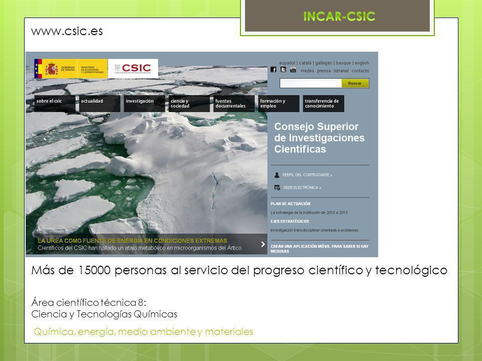 Química, energía, medio ambiente y materiales Área científico técnica 8: Ciencia y Tecnologías Químicas www.csic.es Más de 15000 personas al servicio