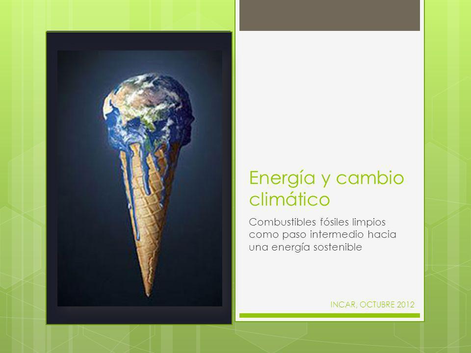 El punto de partida Producimos electricidad, calor y combustibles para el transporte principalmente a partir de carbón, petróleo y gas natural (combustibles fósiles), emitiendo CO 2 durante la transformación Consumo energía primarias en España (2010) El CO 2 producido en la combustión de carbón, gas natural y petróleo es el principal causante del aumento de la temperatura en la tierra (calentamiento global)