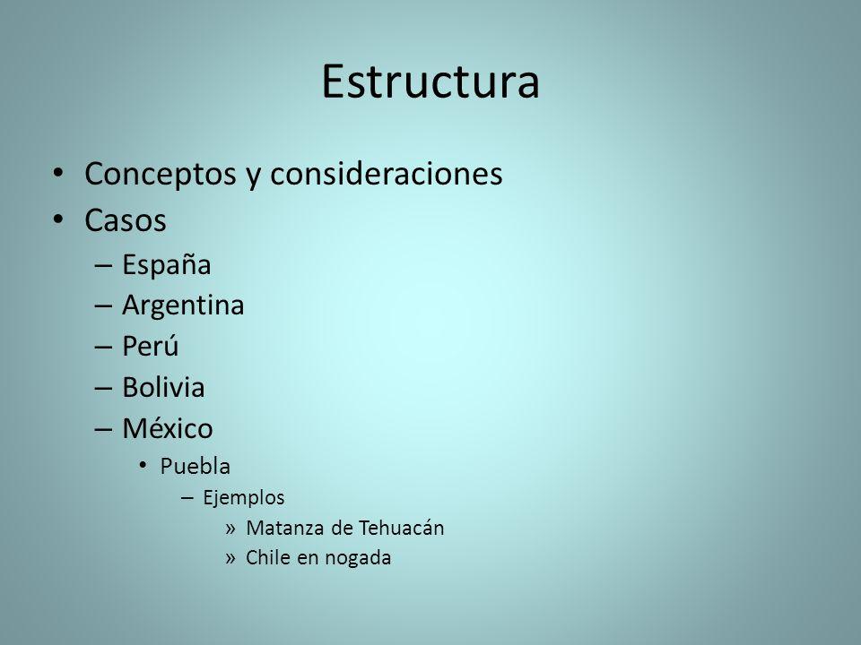 Estructura Conceptos y consideraciones Casos – España – Argentina – Perú – Bolivia – México Puebla – Ejemplos » Matanza de Tehuacán » Chile en nogada