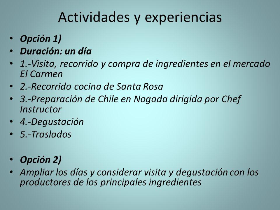 Actividades y experiencias Opción 1) Duración: un día 1.-Visita, recorrido y compra de ingredientes en el mercado El Carmen 2.-Recorrido cocina de San