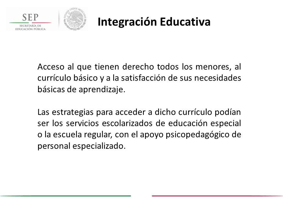 Acceso al que tienen derecho todos los menores, al currículo básico y a la satisfacción de sus necesidades básicas de aprendizaje. Las estrategias par