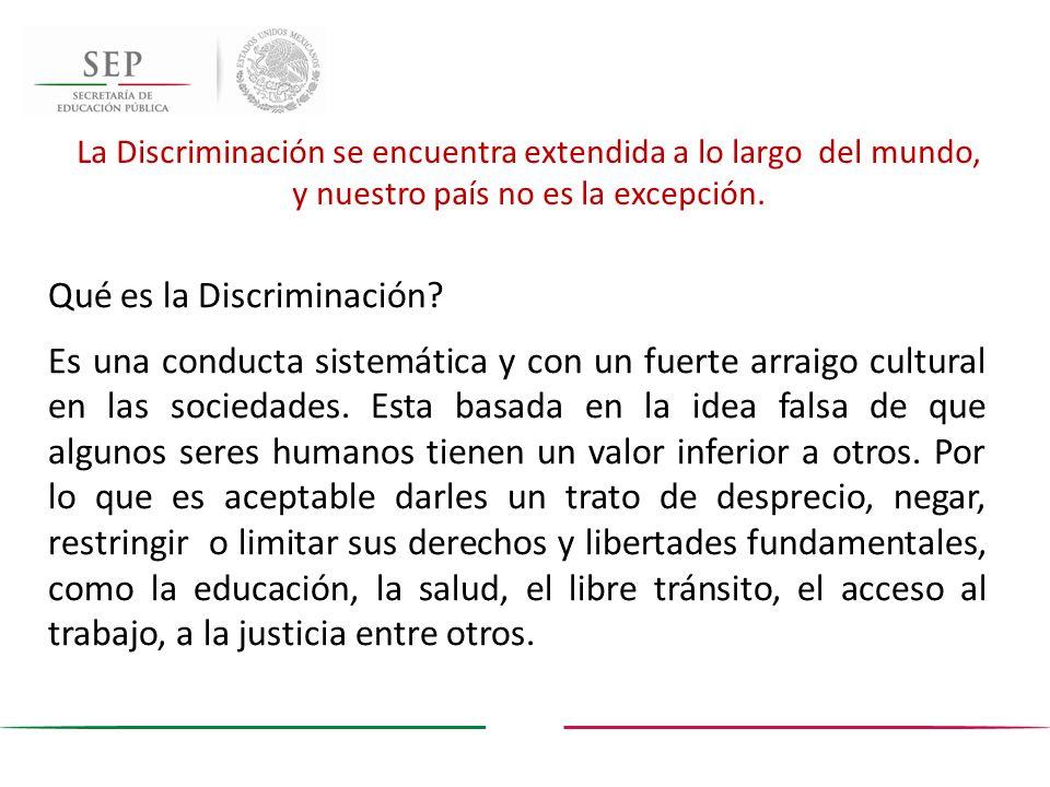 Qué es la Discriminación? Es una conducta sistemática y con un fuerte arraigo cultural en las sociedades. Esta basada en la idea falsa de que algunos